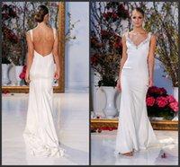 anne barge wedding dresses - Anne Barge Spring Wedding Dresses Simple KR Sheath Crepe Beaded V Neck Sleeveless Ivory Bridal Gowns Zipper Backless Sweep Train