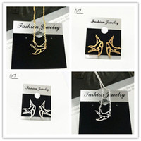 Wholesale Minimalism Aniaml Jewelry Sets Gold Plated Stainless Steel Origami Small Swallow Charm Neckalce Pendant Post Earring S54