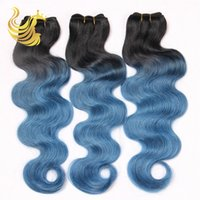 Cheap Hot Beauty Hair Products Blue Ombre Color Body Wave Human Hair Weaves Virgin Brazilian Peruvian Malaysian Hair Weaves Wig 3pcs lot