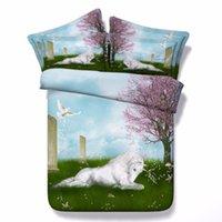 Wholesale Unicorn Series Kids Single bed Purple D unicorn print bedding set Super King Size quilt covers queen bedspread