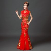 Wholesale 2016 The new red classicsake new bride red tail cheongsam toast Chinese dress long sleeve qipao in suzhou