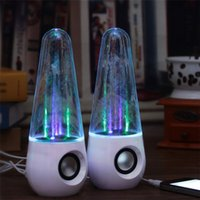 Wholesale New usb tumbler dancing water speaker Portable Mini USB LED colorful lighting music speakers Black White color ZD064
