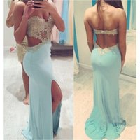 Wholesale Sexy Blue Cutout Waist Slit Prom Dress with Lace Appliqued Top Straplss Gold Lace Top Fitted Slim Evening Gown