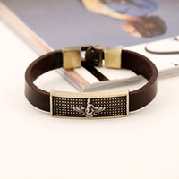 best mens accessories - 6pcs Hot best selling Vintage Mens Accessories Handmade Woven Leather Bracelet Eagle Symbol Alloy Buckle Orname Wristband Cuff Bracelets