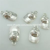 antique baseball caps - 15296 Alloy Antique Silver Vintage Mini Cute Baseball Cap Pendant Charm