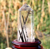 Natural Black Tourmaline cristal point Wand <b>Reiki Healing</b> Décoration Fengshui + base en bois de 0,1 kg Nouveau AAAA