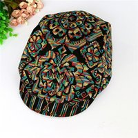 Wholesale fashion lady national wind cap embroidery patterns leisure hat autumn and winter warm peaked caps