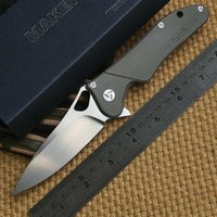 ceramic balls - Ben Maker design Original ceramic ball bearing Flipper folding knife S35vn TC4 Titanium handle camping hunting knife EDC tool
