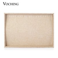 Wholesale VOCHENG Styles Linen Display Tray Cases Bracelet and Snap Button Box Packaging Jewelry NN