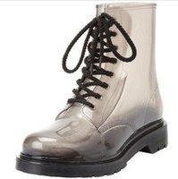 ankle wellington - Plus size Men s Gumboots Gumshoes Clear Jelly Rain Boots Wellington Shoes Rainboots Botas Lace up Waterproof