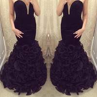 african flowers photos - Sexy Sweetheart Strapless Mermaid Prom Dresses Arabic African Ruffles Tiered Party Gowns Burgundy Blue Black Long Evening Dresses JB958