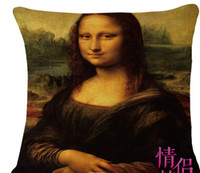 art sistine chapel - Mona Lisa Smile World Famous Paint Art Renaissance Oil Painting Cushion Cover Michelangelo Sistine Chapel Frescoes Pillow Cover