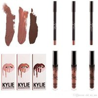 Wholesale HOT NEW Kylie Lip Kit by kylie jenner Velvetine Liquid Matte Lipstick Lip Pencil Lip Gloss Set color High quality DHL GIFT