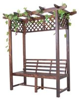 Wholesale Garden Furniture Wooden Flower Pergola With A Long Chair