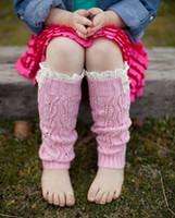 leg warmers - 2016 Children Baby Boot Cuffs Stocking Socks Fashion Lace Leg Warmers Warm Up Wool Knitted Booty Winter Gaiters Boot Covers