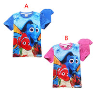 baby clown fish - Finding Dory Boy girl T shirts Children Free DHL Color cartoon Finding Nemo find dory Short sleeve T shirts baby Clown fish clothes B001