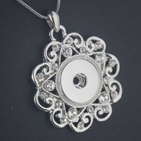 Wholesale 15pcs Noosa Silver Planted Hollow Flower Pendant With Snap Button DIY Charm Jewelry Gift For Women NAB0036