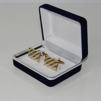 Wholesale High quality dark blue Velvet Plastic Cufflink Box Jewelry Boxes Best gift box for Cufflinks Hot Selling L296