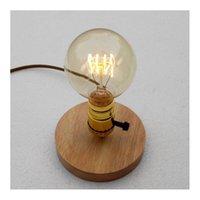 aluminum wooden table - E26 E27 Industrial Vintage Edison Wooden Base Socket Desk Light Table Reading Lamp Not contain light bulb