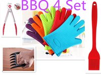 Wholesale 4 BBQ Set Tools Kitchen Glove BBQ Barbecue Gloves Cooking Gloves BBQ Brush Bear Claw Fork Food Clip