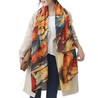 Wholesale Long Graffiti Women Scarves Autumn Winter Pashmina Poncho Foulard Scarf Designer Oversized Warm Scarf Shawl New Female Shawls