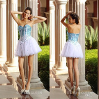 Wholesale 2016 New Ball Gown Strapless Sleeveless Sexy Sweetheart Blue Beads White Tulle Homecoming Party Cocktail Short Prom Dresses In Stock