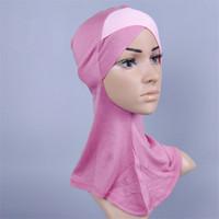 arab head covering - Modal Patchwork Arab Islam Inner Hijab For Muslim Women Islamic Head Cover Hat Under Hijab Muslimah Women S Cap Cover Turkish Scarf Clothing