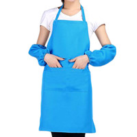 Wholesale S5Q Women s Solid Color Kitchen Restaurant Cooking Working Apron With Oversleeve AAAFZB