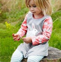 american girl tshirt - baby clothing Baby Boys Girls Long Sleeve Cotton Cartoon rabbit tshirt pant Set T