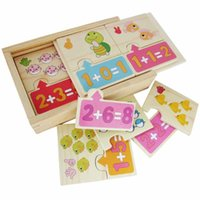 Wholesale Cute wooden puzzles Math Addition Operation Montessori Jigsaw puzzle Children early childhood education math toys kids Gift
