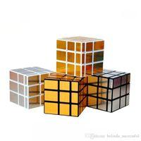 Wholesale 2016 New shengshou x3x3 Mirror Blocks Silver stickers Shiny Magic Cube Puzzle Brain Teaser IQ toys
