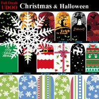 art grave - 2pcs Mix Christmas Halloween Full Art Nail Sticker Deer Snow Cake Flake Ghost Grave designs Nail Decals Manicure Tools