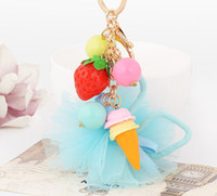 ball pendent - new arrival fashion strawberry icecream colorful ball pendent keychains key ring fashion accessories for bags for keys cute gift