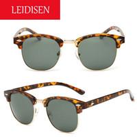 Wholesale new arrival LEIDISEN unisex sun glasses vintage mirrored sunglasses color women men aviators style eyewear mm