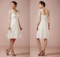 Cheap Boho Wedding Dresses Summer Chiffon Short Knee Length Lace V Neck 2015 Ivory A Line Pleat Plus Size Bridal Gowns Formal Bridesmaid Dress