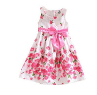 Wholesale Children Girls Dress Sleeveless Dresses Princess Floral Bowknot Party Dress Sundress Year Kids Girls Dresses