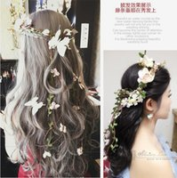 Wholesale Romantic Artificial Garland Hair Accessories For Wedding Cheap Handmade Flower Bohemia Head Accessories For Beach Party Four Color