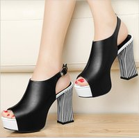 Wholesale Chunky Sandals Girls - New Summer Women Fashion High Heel Fish Mouth Sandals Ladies Sexy Hollow Out Toe Sandal Girl Lovely Platforms Chunky Heels Shoes