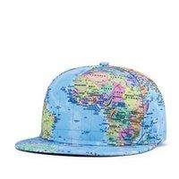 baseball globe - 2016 New Fashion Outdoor Sports Men Women Peaked Cap Baseball Cap Camping Hiking Fishing Hip hop flat along Hat globe printing