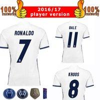 Wholesale 2017 Champions League Player Version Soccer Jersey Real Madrid Home White Soccer Jerseys Ronaldo Bale Kross Football Jeresys