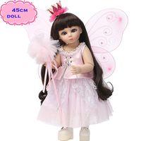 bebe mini skirt - 18inch Angel types Full Silicone Vinyl BJD Doll Toys In Pink Butterfly Skirt Most Favorite Reborn Doll Bebe Giocattoli For Girls