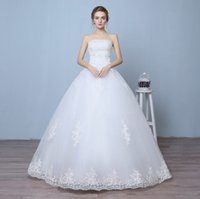 Wholesale Silk Wedding Organza Ribbon - Elegant fashion 2016 Strapless Lace Wedding Dress Floor Length Bridal Dress Lace up Dresses three for one sale