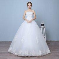 Wholesale Elegant fashion Strapless Lace Wedding Dress Floor Length Bridal Dress Lace up Dresses three for one sale