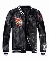 Wholesale New arrive Tide Brand Fashion Desinger Faux Leather Punk jacket brand PF37 Print Skulls PU Leather Sporty Style Men Casual Jacket M XL