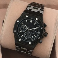 battery clock works - High quality Luxury watch men watches all subdials work stainless steel band quartz wristwatches fashion Brand A clock for men rejoles gift