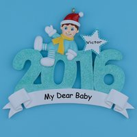 baby gifts personalized - 2016 Natal Baby First Polyresin Hanging Personalized Glitter Christmas Tree Ornaments For Holiday New Year Gifts Home Decoration