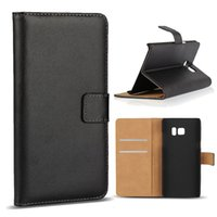 plastic card holder - For Samsung Note S7 edge Real Genuine Leather Wallet Credit Card Holder Stand Case Cover For Galaxy Note7 S6