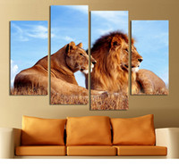 art figures king - 4 Panels Lion King Abstract paintings on canvas Wall Pictures For Living Room Home Decor Wall Art Canvas Print No Frame