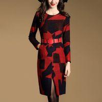 Wholesale Skirt Long sleeved Round Collar Dress Show Thin Waist Joker Temperament of Female New Fund of Autumn Commuter