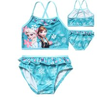 Wholesale Princess Elsa Anna Baby Swimwear Baby Girls Lace Sequins Swimsuit Two Pieces Bathing Swim Wear For Children biquini